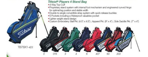 golf center bolsa titleist players 4 blue  envío gratis