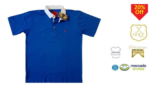 golf play camisa camiseta pólo masculina azul itália+branco