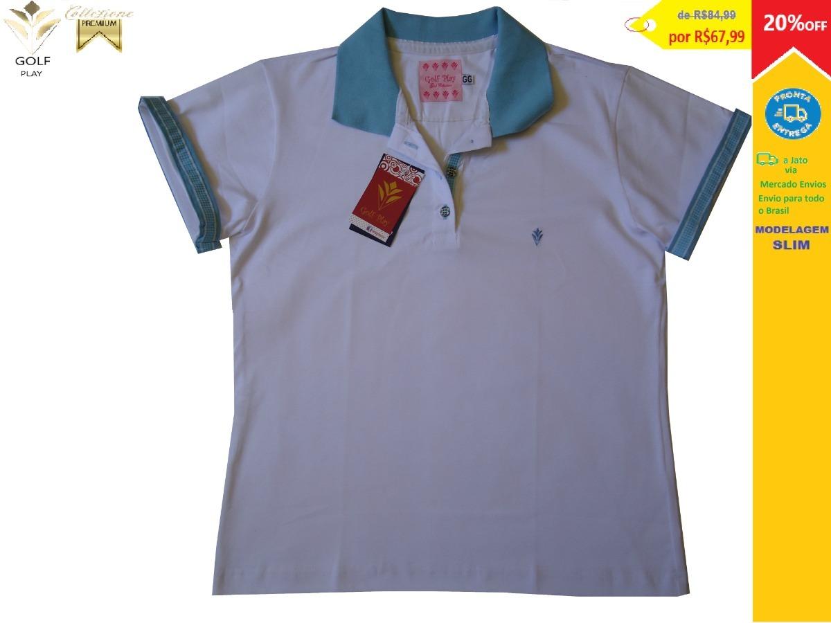 c3ee9e4585bc4 golf play camisa polo feminina cor branca com azul celeste. Carregando zoom.