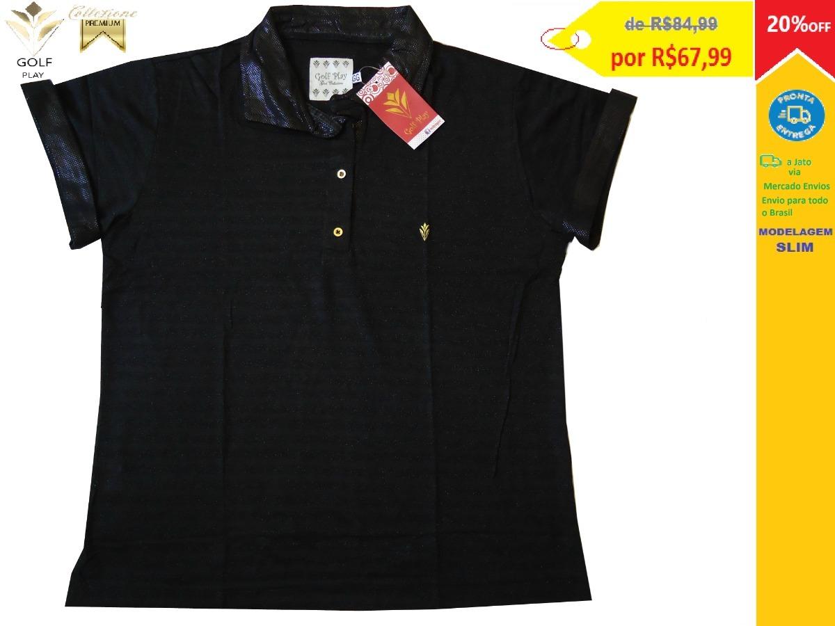 golf play camisa polo feminina cor preta com dourado. Carregando zoom. c439028773588