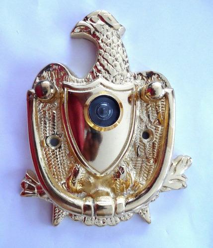 golpeador puerta bronce águila dorada con ojo mágico