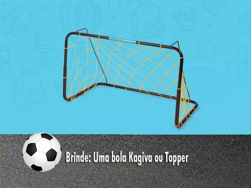 golzinho futebol (par) mini gol ferro +rede + bola de brinde