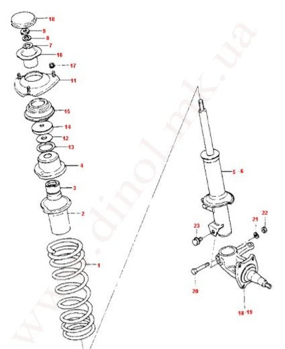 goma base amortiguador delantero super carry damas labos *1