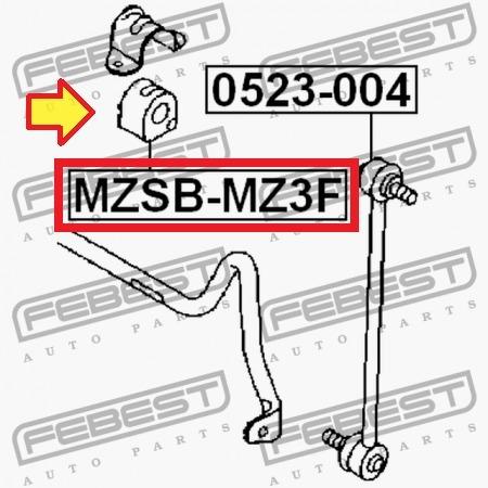 goma buje barra estabilizadora delantera  mazda 3 ( par )