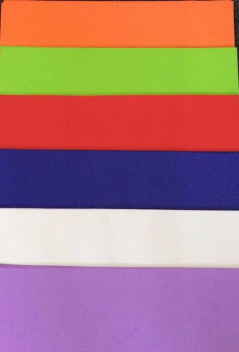 goma eva lisa- 60x40 cm 1era calidad paquete de 10 hojas