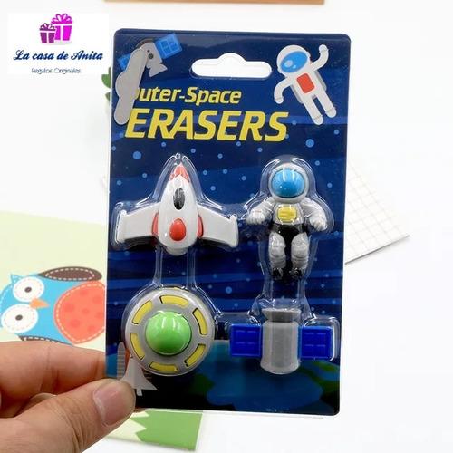 gomas de borrar espacial astronauta nene sourvenir