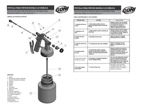 goni-28 pistola de baja presion p/ pintura vinilica