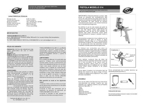goni-314 pistola de gravedad  mini de retoque