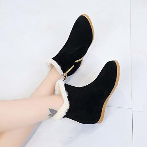 GoodLock Women Fashion High Heel Boots Casual Winter Solid Color Suede Zipper Boots Round Toe Shoes