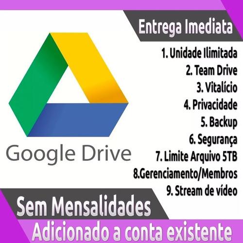 google drive ilimitado adicionado a conta existente