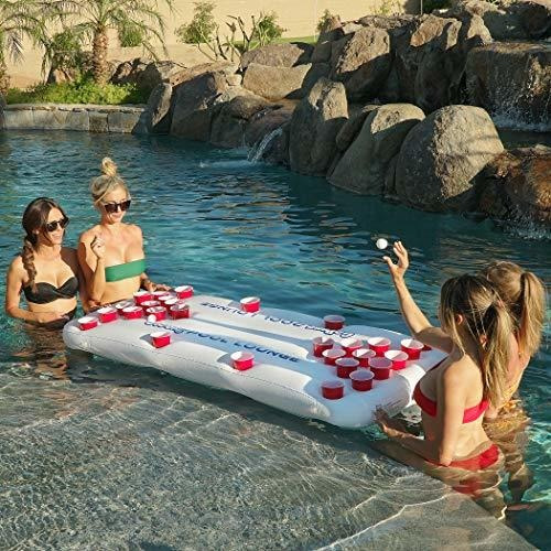gopong pool lounge mesa flotante de cerveza pong inflable co