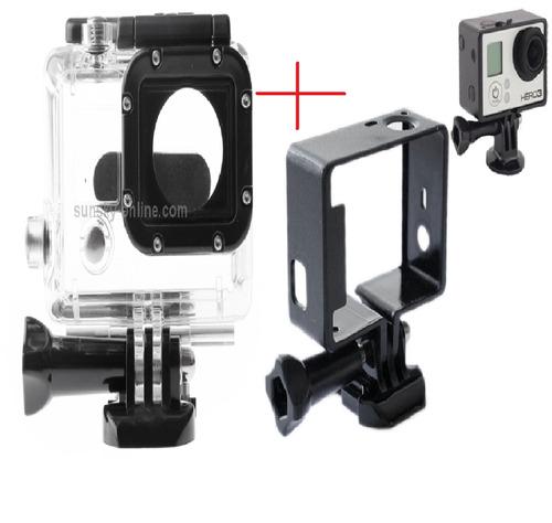 gopro caixa estanque+quadro frame+parafuso+strap mount hero