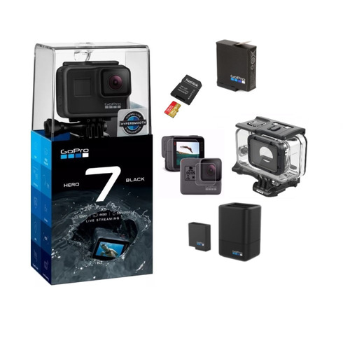 gopro+extreme 64gb+ bateria +carregador+película+cx estanque