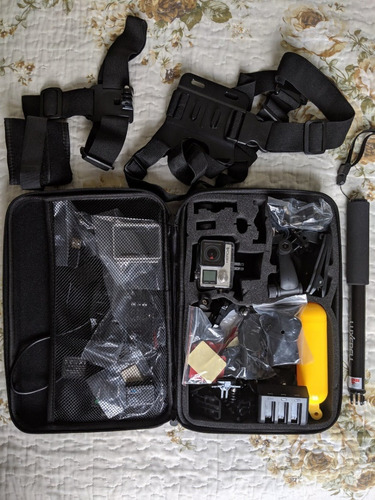 gopro go pro hero 4 + kit 21 acessórios + travel kit