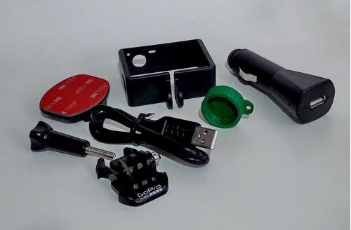 gopro hero 4 black marco tapa lente cargador auto cable