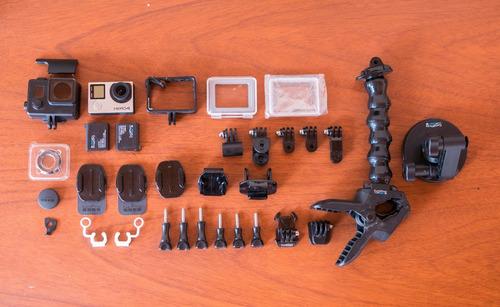 gopro hero 4 silver + ventosa + jaws flex + accesorios 4k