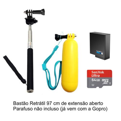 gopro hero 5 black bastões bateria extra 64gb p. entrega