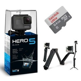 gopro hero 5 black camera +cartao 64gb+bastao 3way+bateria