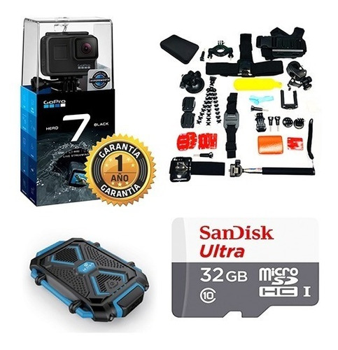 gopro hero 7 black + micro sd 32 gb + powerbank + kit 12 cta