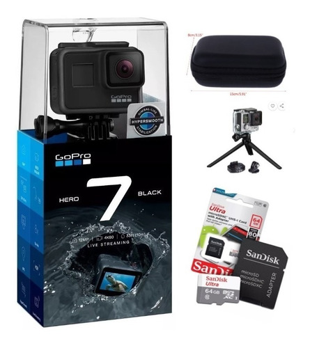 gopro hero7 black + cartão ultra 64gb + case +tripé original