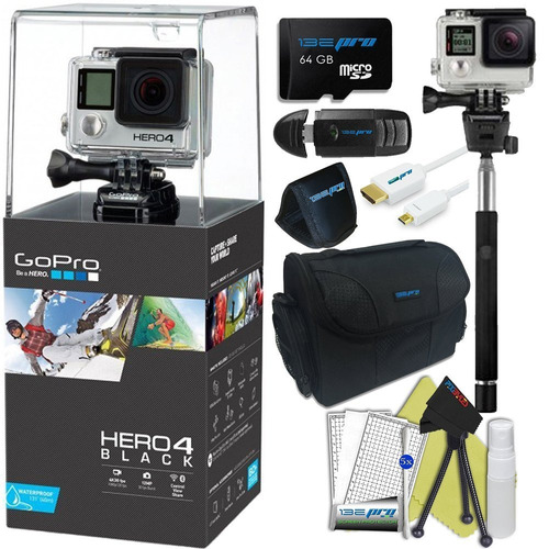 gopro héroe 4negro. cámara 4k, kit de acción impermeable (9p