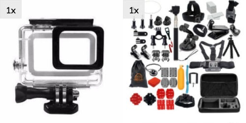 gopro kit acessórios df02m caixa estanque hero 5 6 7 black