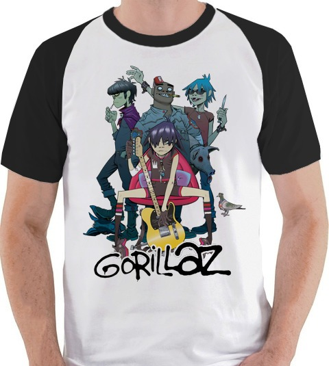 Gorilaz Camiseta Gorillaz Banda Membros Camisa Blusa Raglan - R  39 ... 3fa1eecff4dc6