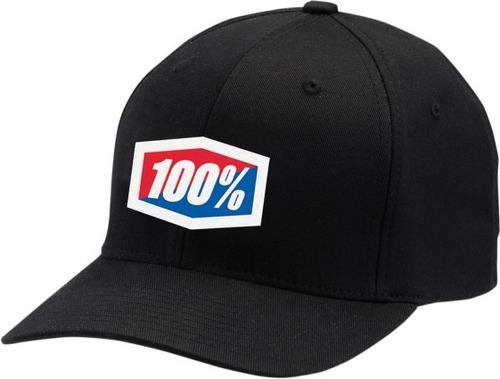 gorra 100% clásico hombre flexfit negro/blanco sm/md