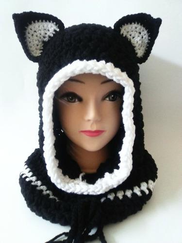 gorra capucha con orejas y cuello tejida a mano unisex