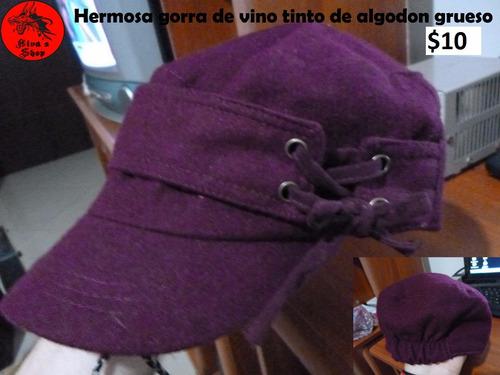 gorra de algodon color vino tinto para frio