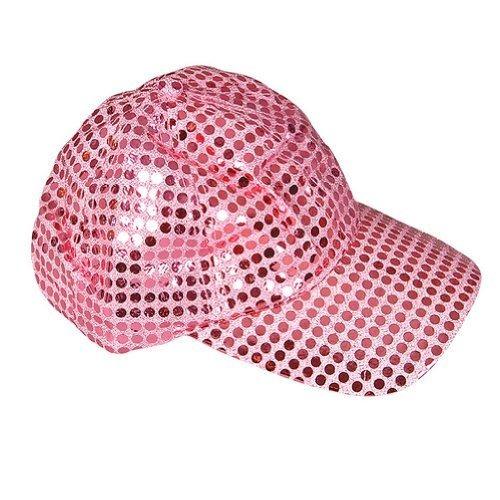 gorra de béisbol con lentejuelas rosa
