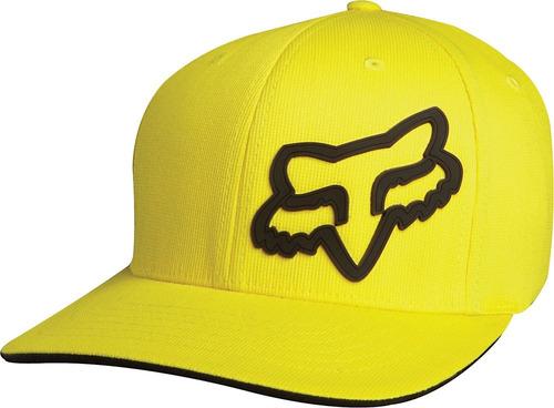 gorra fox racing signature flexfit negro l/xl amarillo/