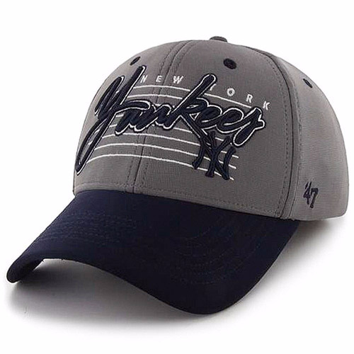 gorra men's '47 gray/navy new york yankees f flex hat