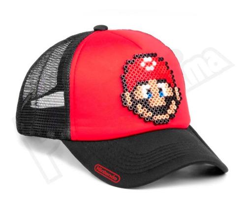 gorra pixel art - mario - estilo retro 8 bits super mario