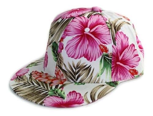 gorra plana snapback floreada hawaiana moda broche