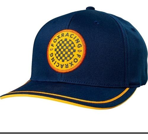 gorra service flexfit azul logo amarillo moto fox juri atv