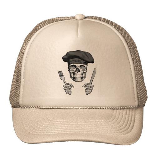 gorra trucker camionero cráneo del cocinero: cuchillo y bif