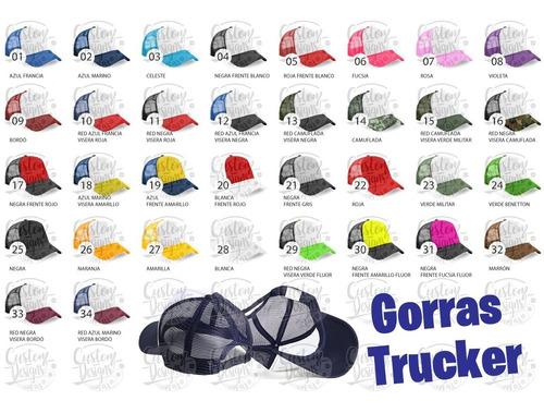 gorra trucker visera curva lisa estampar, bordar y sublimar