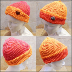 1b9c2def62a Gorro Doble Vista Tejido Naranja Rosa Crochet Unisex Perrito