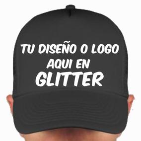 5b1063f1f7269 Gorra Personalizada Con Glitter A 1 Color Vinil Brillante