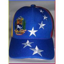 Gorra Tricolor De Venezuela 8 Estrellas Y Escudo Bordado