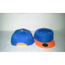 Gorra Plana Snapback Bicolor Azul Rey Con Visera Naranja