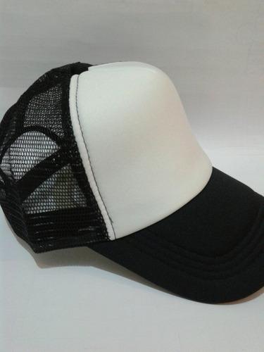 gorras trucker negra fr. blanco  camionera para sublimar