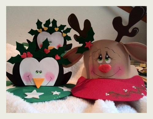 gorras y viseras navideñas en foami foami reno pinguino sant