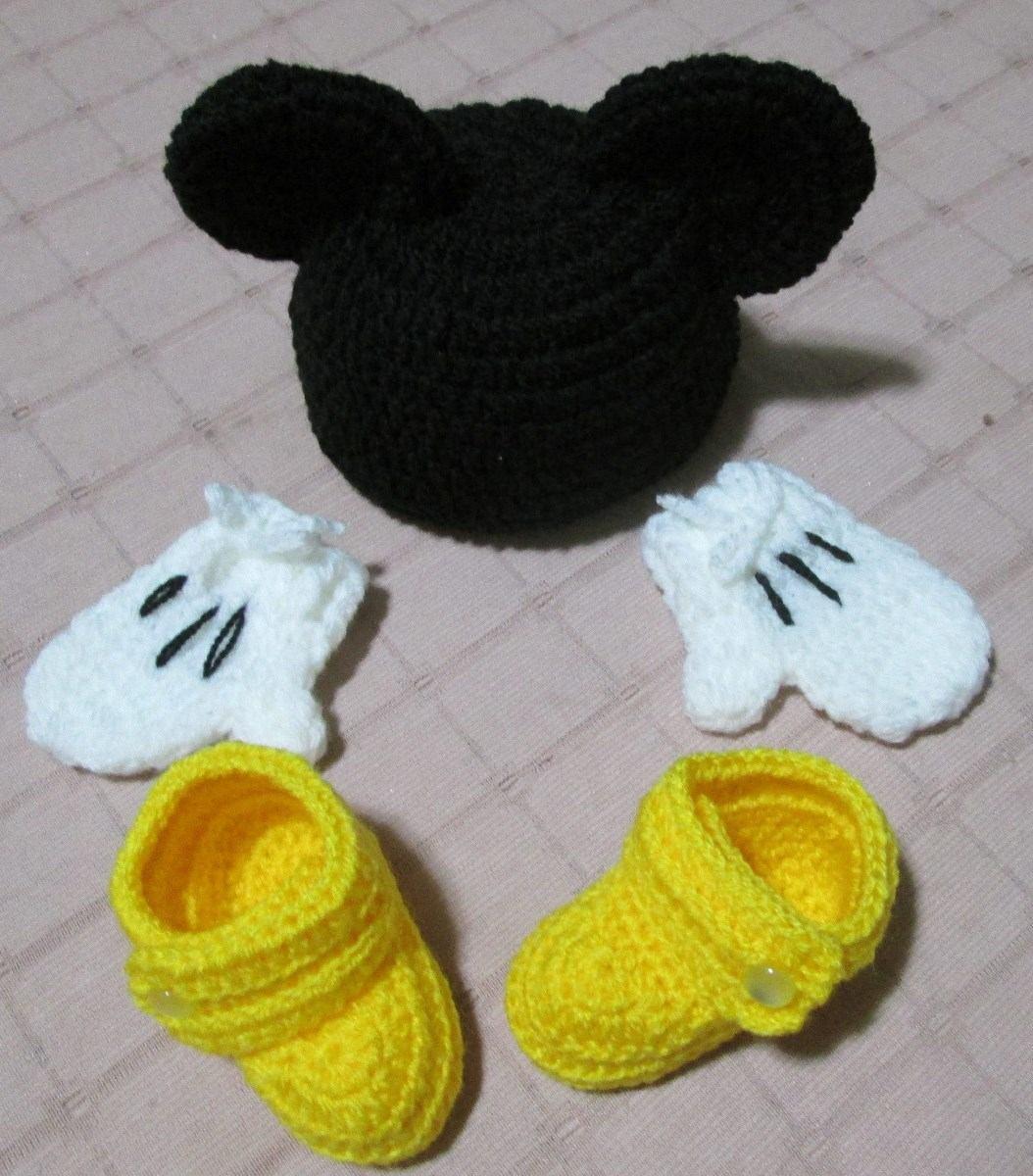 Gorrinho + Sapatinho Mickey Mouse (touca Gorro) - R  69 9adc7d2fb68