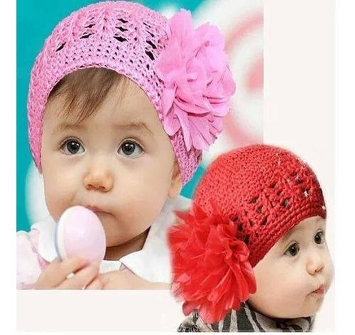 gorrito con flor para bebes y niñas - color rosado en stock