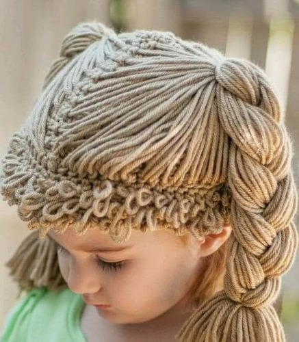 gorrito de crochet estilo cabbage patch peluca
