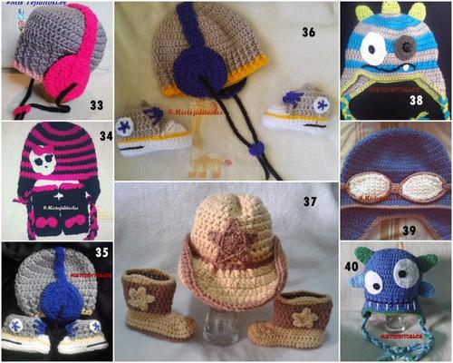 gorro animado tejido crochet  bebe niña niño adulto
