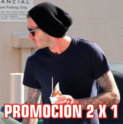 gorro beanie tuke negro promocion 2 x 1