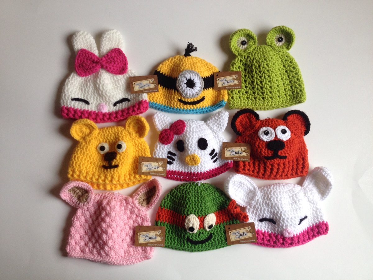 gorro bebe 0,6m tejido a mano crochet animalitos niño niña